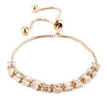 цена на New Flower Bracelet Micro Paved Shining Tiny CZ Crystal Charming Link Chain for Women Wedding Party Jewelry