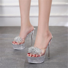 2020 Summer Shoes Women Slippers Female Model T Show Sexy Crystal Shoes 15cm High-heeled Transparent Waterproof Terrace Slippers