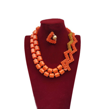 Dudo Traditional African Jewelry Set Nigerian Wedding Bridal Jewellery Set 2 Layers Imitation Coral Beads + Crystal Beaded Style