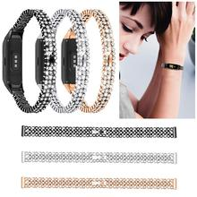 New Luxury Stainless Steel Rhinestone Watch Band Shiny Diamond Wristband For Samsung Galaxy Fit SM-R370 2019 Newest Smart