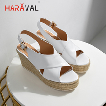 HARAVAL Classic mature wedge single shoes comfortable and elegant sandals women casual simple roman branded for ladiesS128