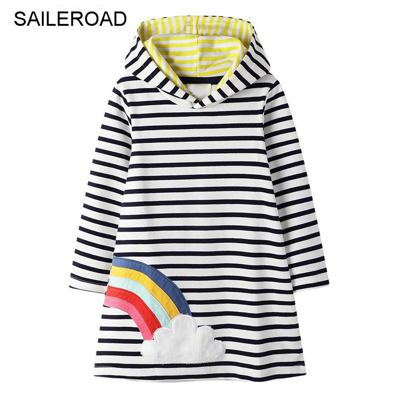 SAILEROAD Rainbow Embroidery Girls Hoodies Dress for Children Tops Clothes Autumn Winter Kids Long Sleeve Hoody Dresses 1