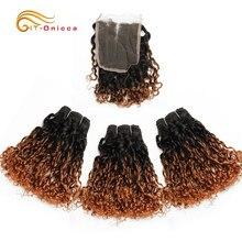 Mechones de pelo brasileño ombré 1B, mechones de cabello humano con rizos Pixie con cierre, color rubio 30, 240g por Set, cabello Remy, 3 mechones