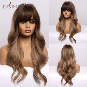 EASIHAIR Long Ombre Black Light Brown Wavy Wigs With Bangs Women's Wigs Heat Resistant Synthetic Wigs for Women Cosplay Party