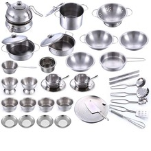 Kids Stainless Steel Kitchen MINI Cooking Utensils Pots Pans Food Toys Miniature Kitchen Tools Set Simulation Play House Toys