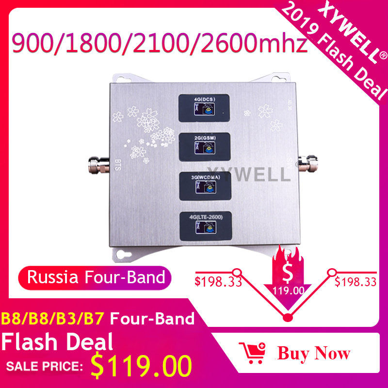 900/1800/2100/2600mhz Four-band Mobile Cellular Amplifier GSM 4G repeater 2G 3G 4G repeater LTE DCS cellular Signal Booster 2600