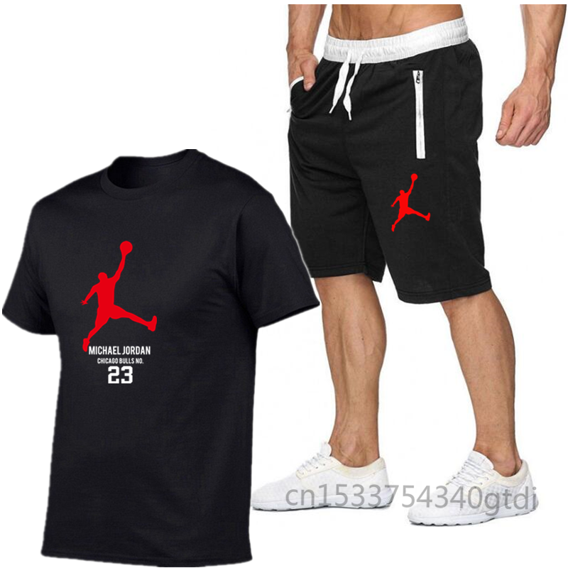 T-Shirt Shorts-Set Running-Set Jordan-23 Cotton Men's Popular High-Quality Summer New