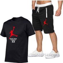 2021 beliebte neue baumwolle männer T-shirt + Sport Shorts Set jordan-23 sommer hohe qualität baumwolle T-shirt sport running set