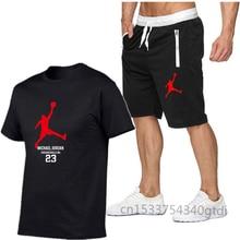 T-shirt et short de sport en coton pour homme, ensemble jordan-23, de haute qualité, pour course à pied, 2021