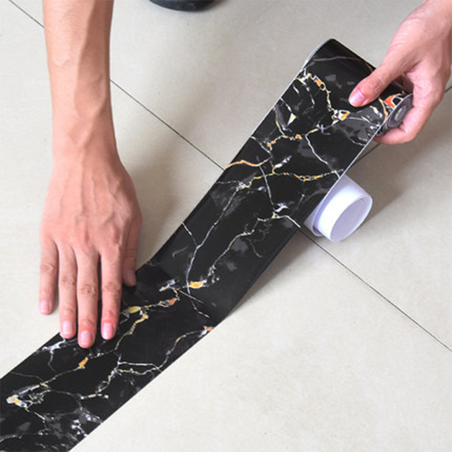 Marble Self Adhesive Waist Line Wallpaper Waterproof Decorative Wall Border Films Living Room Floor Corridor Skirting Line Decal