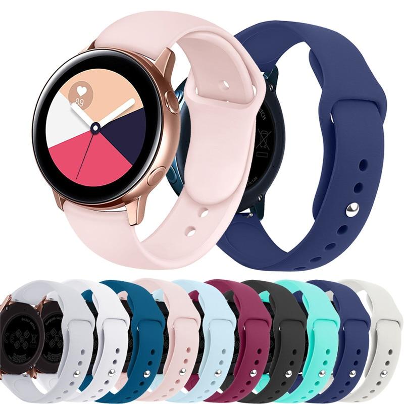 20 мм 22 мм силиконовый ремешок для часов Samsung Gear S3/S2/спортивный браслет Galaxy watch 3/46 мм/42 мм/Active 2 huawei watch gt 2 band