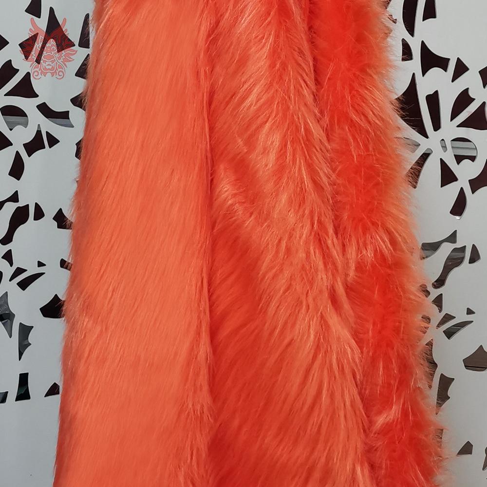 High Grade Dark Orange 9cm Plush Faux Fur Fabric For Winter Coat,vest,Fur Collar,cape 150*50cm 1pc Free Shipping SP2482