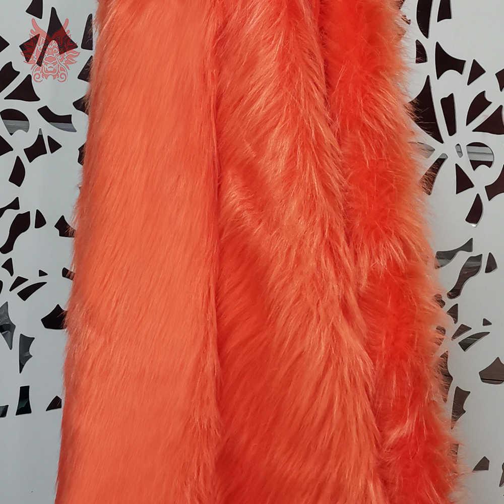 Высококачественная темно-оранжевая плюшевая ткань искусственный мех 9 см для зимнего пальто, жилет, меховой воротник, накидка 150*50 см 1 шт. Бесплатная доставка SP2482