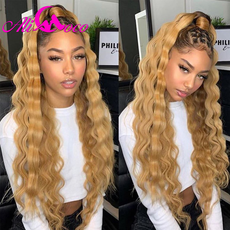 Ali Coco13x4 Deep Wave Human Hair Lace Front Wigs 150% Density 1B/27 /Orange Ginger Ombre Deep Wave Wig Pre Plucked For Women