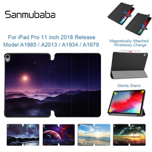 Sanmubaba Case For iPad Pro 11 inch 2018 Version Ultra Slim PU Leather Magnetic Flip Stand Cover Trifold Smart Tablet Coque