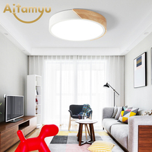 Nordic Oak App Dimmable Led Ceiling Lights Living Room Round Multicolor Alloy Lamp Bedroom Light Fixture