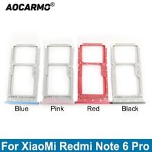 Aocarmo Metal Plastic Nano Sim Card Tray MicroSD Slot Holder Replacement Part For XiaoMi Redmi Note 6 Pro 6Pro m1806e7