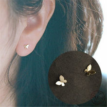 Boucles d'oreilles papillon plaqué argent Sterling 925, or 14k, Simple, brillant, accessoires bijoux coréens doux pour étudiantes