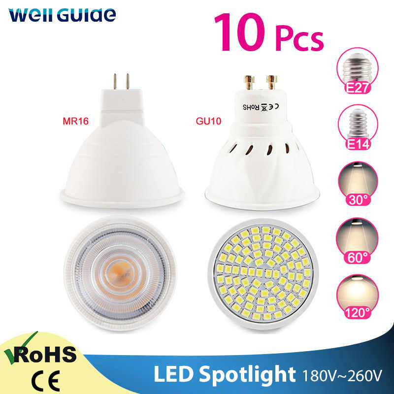 10 Pcs Lampu LED GU10 MR16 E27 E14 LED Dimmable Lampu Sorot 6W 3W 8W 220V AC12V spot LED Bulb Lampada Bombillas Dingin Hangat Putih