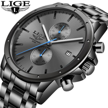 LIGE 2020 New Watches Mens Top Brand Luxury Stainless Steel Quartz Watch For Men Waterproof Sport Chronograph Male Classic Clock