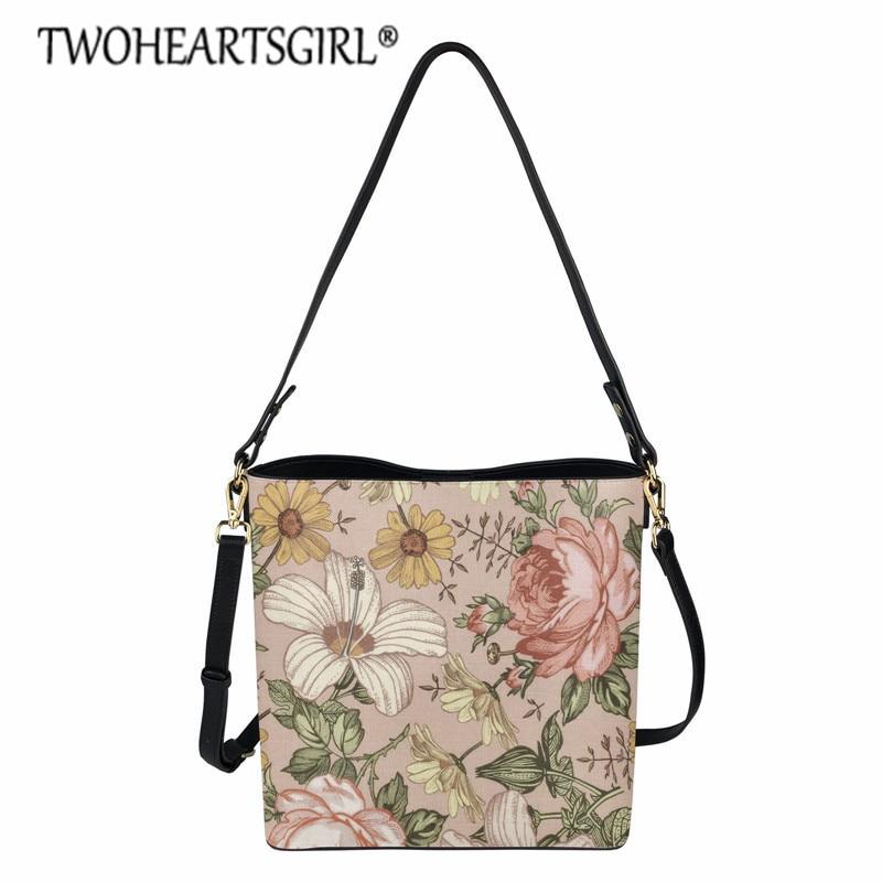 StylishVintage Rose Pattern Luxury Handbags Women Bags Big Leather Crossbody Shoulder Bags for Ladies Bucket Messenger Bag Tote