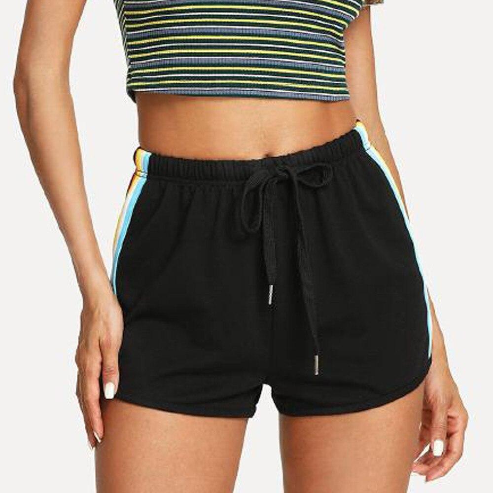# H30 Новые Летние черные спортивные шорты женские повседневные шорты тренировка пояс шорты с боковой радужной полоской Прямая поставка|Шорты|   | АлиЭкспресс