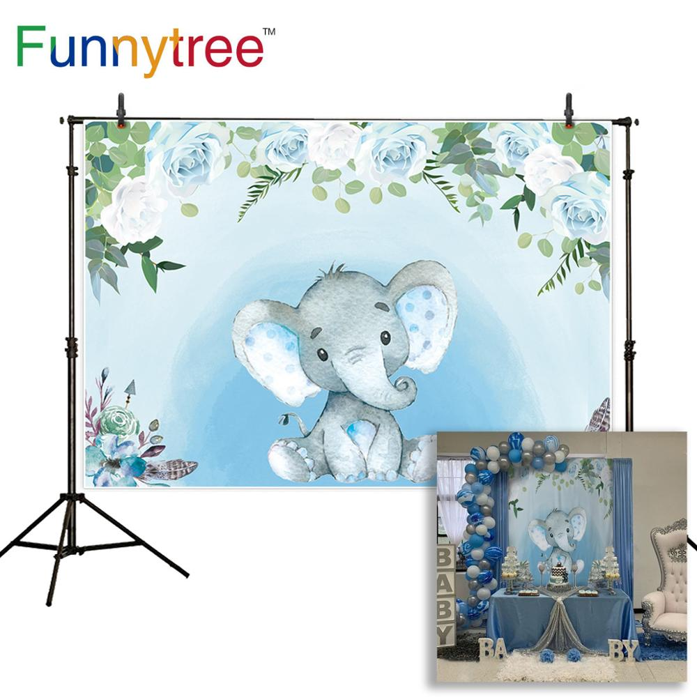 Funnytree Photography Flower Pink Blue Girl Baby Shower Boy Backdrops Elephant Birthday Photozone Party Wallpaper Backgrounds Background Aliexpress