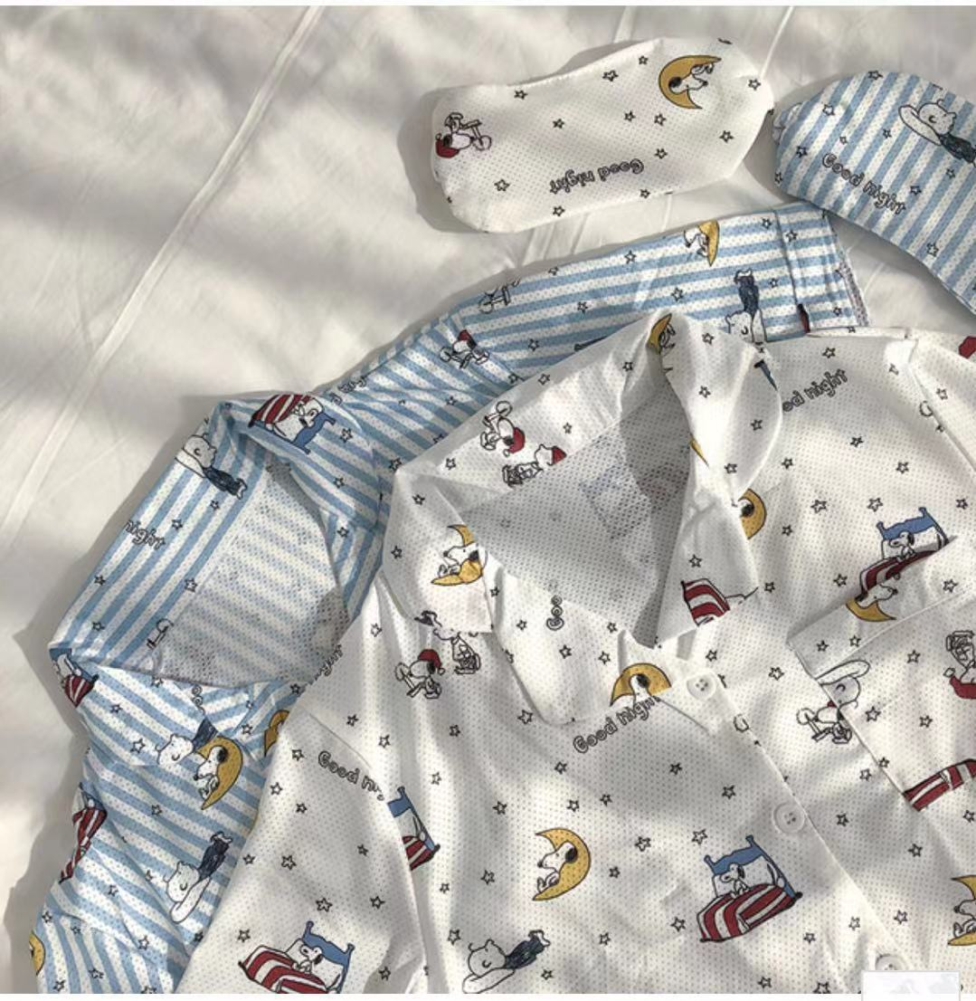 INS Pajamas Snoopy Star Good Night Snoopy Cartoon Breathable Mesh Air-conditioned Room Home Wear