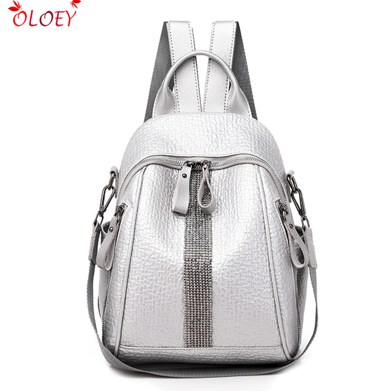 Women's  Double Zipper Backpack Leather Backpack Casual Backpack PU High-grade Leather Bag Lady Travel Bag Suitable For Girls