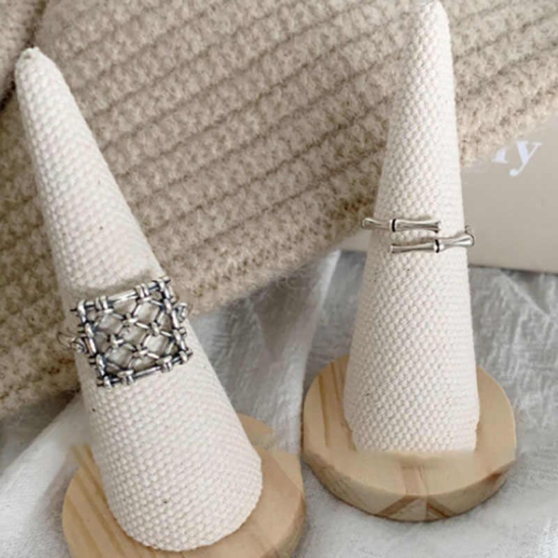 Foxanry Ins Fashion 925 Sterling Zilveren Creatieve Vierkant Rooster Ringen Voor Vrouwen Koppels Vintage Punk-Stijl Partij Sieraden Geschenken