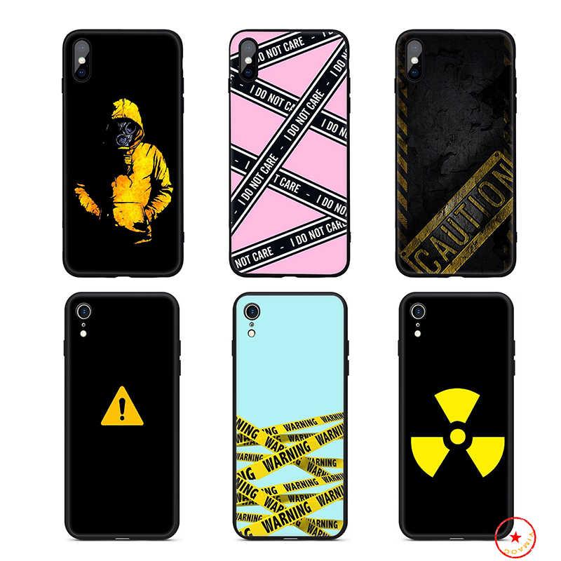 Vàng Cảnh Báo Thận Trọng Silicone Mềm Ốp Lưng Điện Thoại Iphone 11 Pro XS Max X Hoặc 10 8 7 6 6S Plus 5 5S SE XR 6 Plus 7Plus