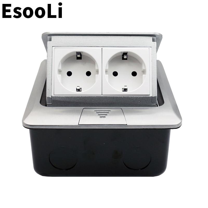 EsooLi Aluminum Panel EU/US/FR Standard Pop Up Floor Socket 2 Way Electrical Outlet Modular Combination Customized Available