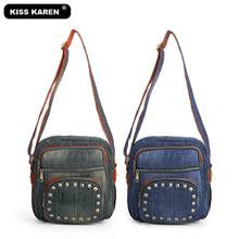 KISS KAREN Vintage Fashion Studded Women Shoulder Bags Durable Denim Women's Messenger Bag Jeans Cross-body Satchels Bag kiss karen floral lace women messenger bag vintage fashion studded denim bag women s shoulder bags summer jeans crossbody bags