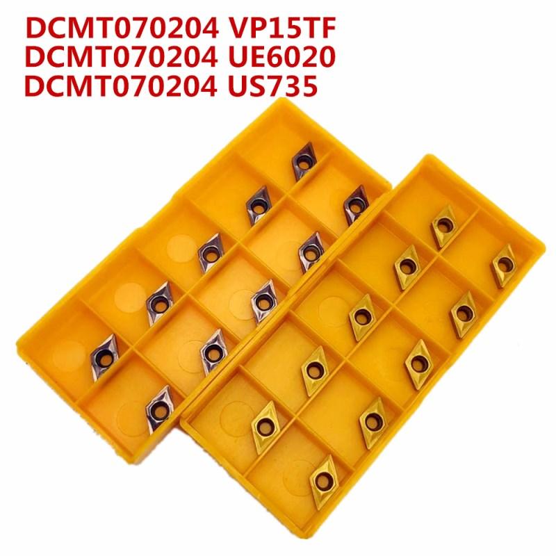Твердосплавный инструмент DCMT070204 US735 внешний металлический токарный инструмент токарный станок фрезерный станок Инструменты с ЧПУ DCMT 070204 ф... title=