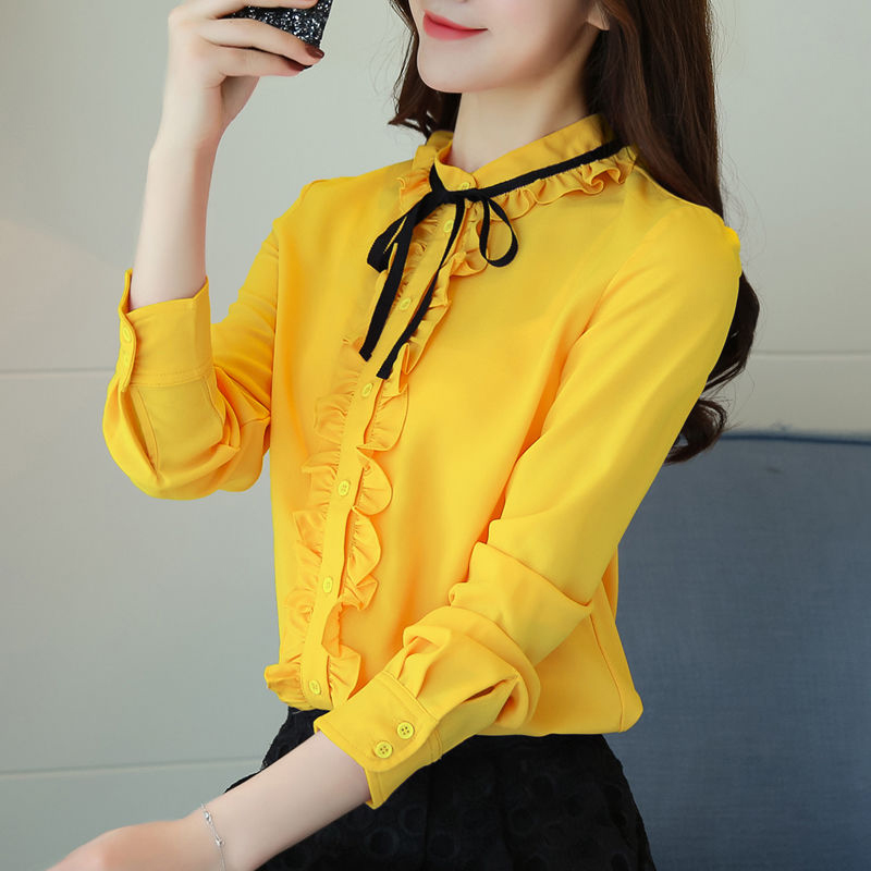 Women Spring Autumn Style Blouses Shirts Lady Casual Long Sleeve Stand Colloar Ruffles Decor Blusas Tops DF3108