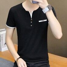 Chun xia han baskı erkek tişört v yaka kişinin ahlak yetiştirmek gençler çit çizgisiz üst giysi render pamuklu gömlek