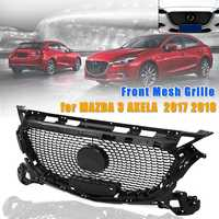 ABS Glossy Black Diamond Racing Grille Front Bumper Upper Grill for Mazda 3 Axela 2017 2018 Car styling