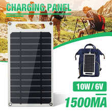 10W 6V 1500mA Monocrystalline Solar Panel USB Mobile Phone Photovoltaic Charging Power Bank sc 10w 10w mobile solar charger power bank usb 5v