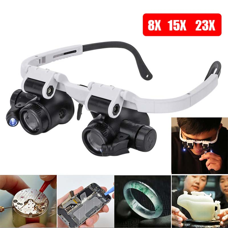 Adjustable 23X LED Binocular Magnifier Double Eye Glasses Loupe Lens Jeweler Watch Repair Measurement Kit With LED Light