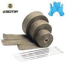 ZSDTRP rouleau de bande thermique pour échappement bandeau thermique, 5cm x 5M, 10M, 15M, en fibre de verre, titane/noir, pare chaleur avec attaches en acier inoxydable, pour moto