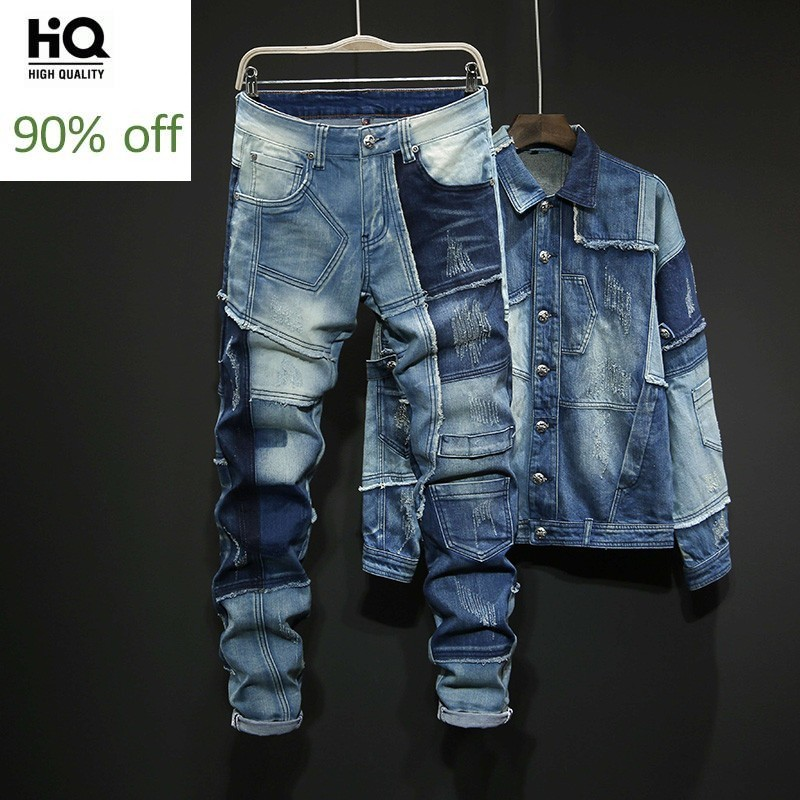 Personality Mixed Colors Spliced Autumn Winter Mens Loose Denim 2Pcs Sets Long Sleeve Single Breasted Jackets Full Length Pants