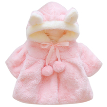 Baby Girl faux fur coat Cardigan Winter Warm light pink cute plush baby girl clothes Soft Hooded Cloak princess costume D20