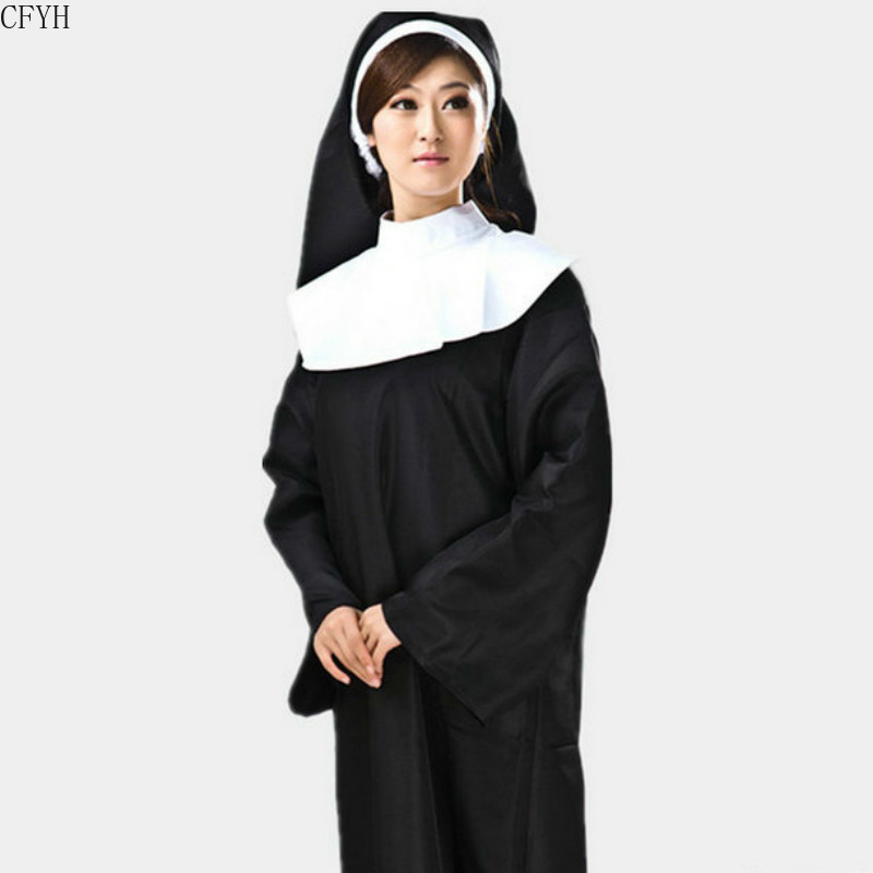 Women Ladies Nun Costume Headscarf  Robe For Party Cosplay Stage Performance Halloween