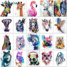 SDOYUNO — Peinture d'animaux par numéros, 40x50 cm, numérotés, sur toile, images en nombres, décoration de maison, sans cadre, style minimaliste, DIY bricolage