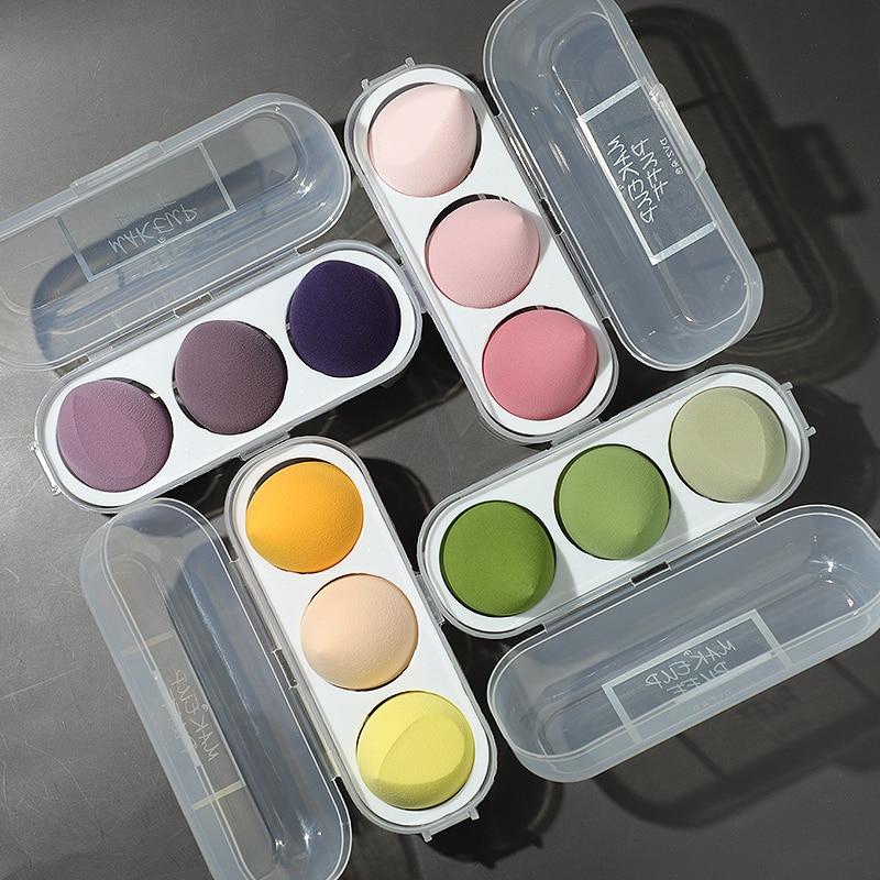 3 /4Pcs Set Makeup Sponge Puff Makeup Puff Healthy Latex Soft Sponge Wet And Dry Suit Bevel Makeup Tools Exquisite Plastic Box