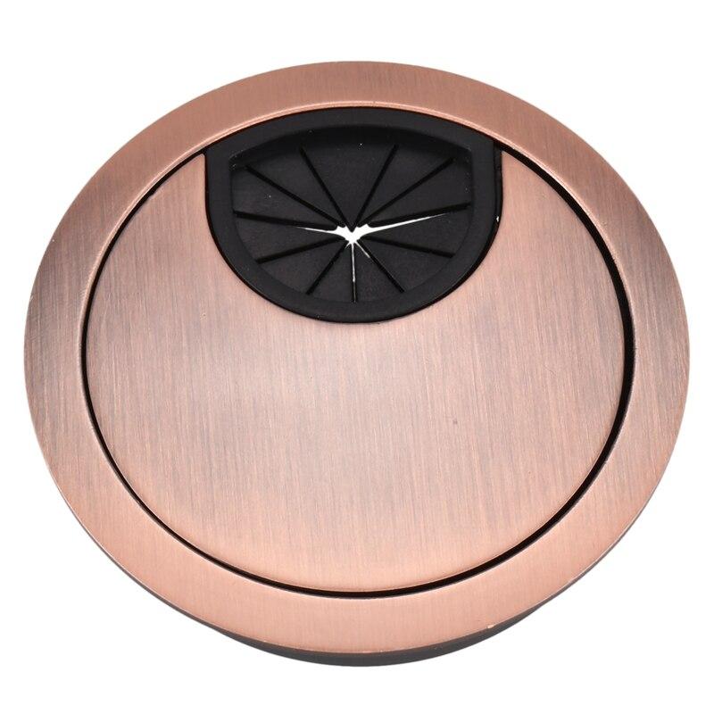 Metal 53mm Dia Computer Desk Table Counter Top Wire Grommet Copper Tone
