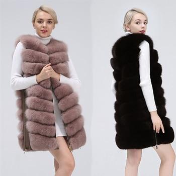 2019 New Fashion Fox Fur Vest Zipper Real Jacket Female Winter Warm Coat High Quality