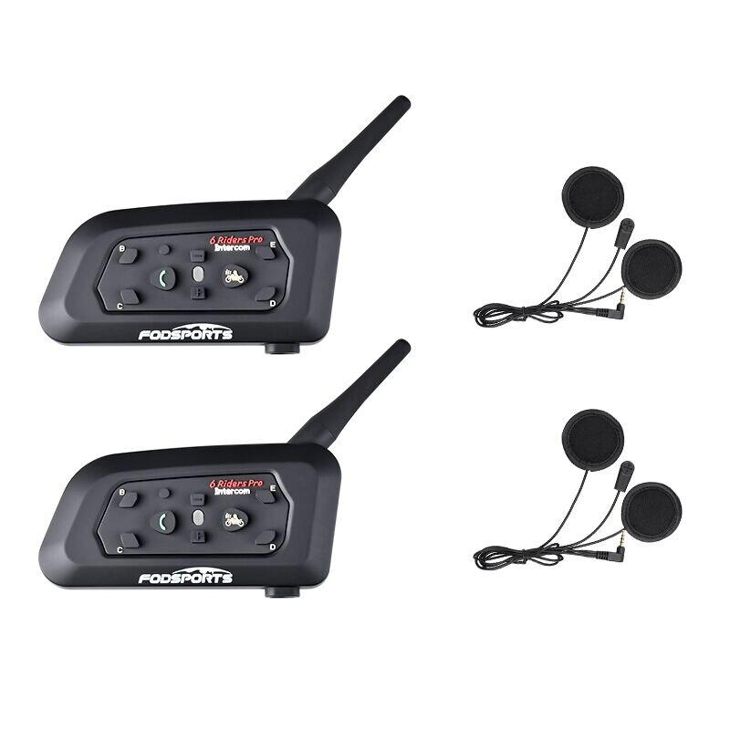 Fodsports 2 stücke V6 Pro Helm Intercom Motorrad Bluetooth Helm-Headset für 6 Fahrer BT Wireless Intercomunicador Sprech