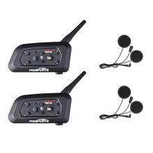 Fodsports 2 pçs v6 pro capacete interfone da motocicleta bluetooth fone de ouvido para 6 pilotos bt intercomunicador sem fio interfone