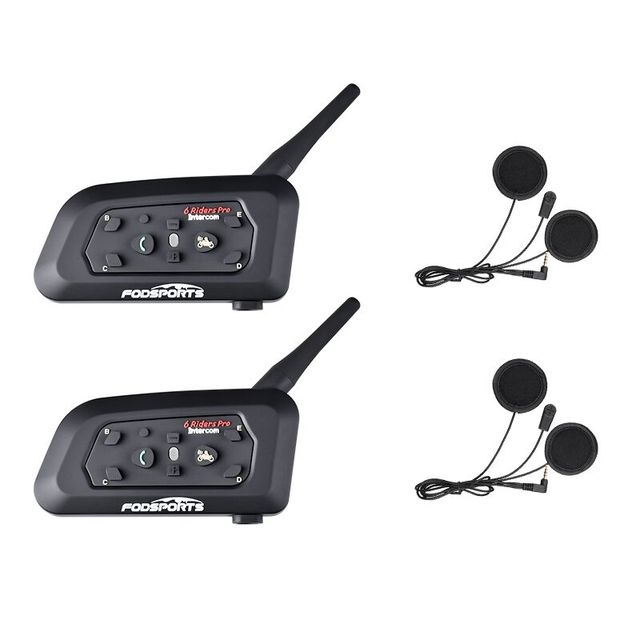 Fodsports 2 sztuk V6 Pro hełmofonu kask motocyklowy z Bluetooth zestaw słuchawkowy dla 6 Riders BT bezprzewodowy Intercomunicador domofon